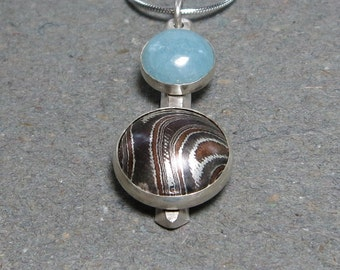Mokume Gane Pendant Amazonite Necklace Argentium Sterling Silver Necklace
