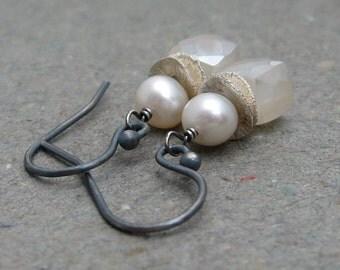 White Agate Earrings White Pearl Earrings June Birthstone Earrings Geometric Jewelry Oxidized Sterling Silver Gift for Wife