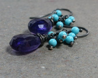 Purple Amethyst Earrings Turquoise Cluster Oxidized Sterling Silver Earrings Gift for Her