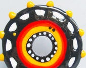 Halloween Big-Holed Big Wheel--Handmade Lampwork Glass Bead Disc