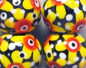 Sun Flower Power Balls --Handmade Lampwork Beads