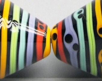 Zuma Stripey Stripey Cones (Medium)--Handmade Lampwork Beads