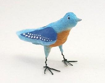 Vintage Inspired Spun Cotton Bluebird Ornament/Figure