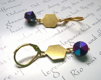 geometric earrings in violet and gold - dangle earrings with gold hexagons and vintage crystals - purple earrings - violet hex earrings