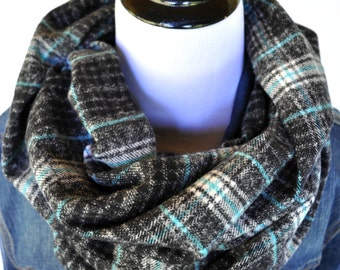 Super Warm Cozy Flannel Infinity Scarf / Aqua Gray Black White Plaid  / Christmas Gift / Loop Circle Scarf / Child and Adult Size Available
