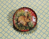 Bunny in the garden red polka dot glass cabochon brooch