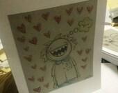 Beastie in love greeting card- hand drawn in ink original art card