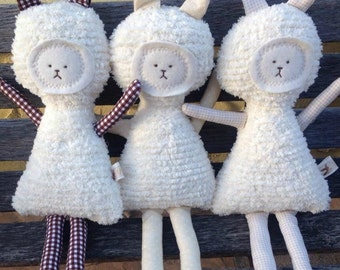 Bunny Toy Soft Doll, Plush, Natural Eco Friendly, The Spice Girls