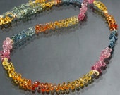 74ct Natural Multi Sapphire Tear Drop Briolettes & 18K Gold Necklace