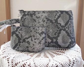 Vegan Faux Leather Snake Skin Smart phone  Clutch Wristlet Zipper Gadget Pouch Bag  Made in USA Set