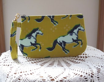 Horse Mustang Clutch Wristlet Zipper Gadget Purse Pouch Gold