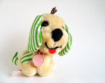 Vintage Strawberry Shortcake Pupcake Dog American Greetings Dog Stuffed Animal Plush 1980s Toy Retro Toy Huckleberry Pie's Dog Green Stripes
