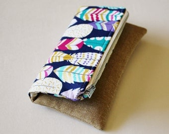 Mini fold over clutch, zippered pouch, feathers