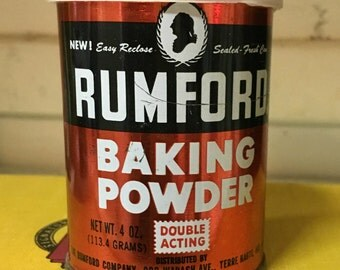 Rumford, Baking Powder Can, Vintage Tin, Old tin, Kitchen Collectible, Tin, Box, Vintage, Baking, Kitchen Decor, Collector Tin, Red, Decor