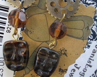 Steampunk Crystal Glass Amber Brown Face Earrings