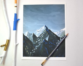 Lovely Mountains - Print of an original acrylic painting
