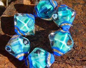 Blue Moon - Set of 6 Crystal Bicone Beads - SRA Glass Lampwork