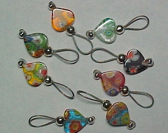 Heart Millefiori Knitting Stitch Markers - US 5 - Item No. 853