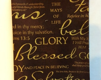"""Fabric Book Cover for Book Size 5 1/4""""x8 1/4"""", Religious Fabric, Bible Cover, Fabric Bible cover, Blessed, Joy, Salvation, Religious Cover"""
