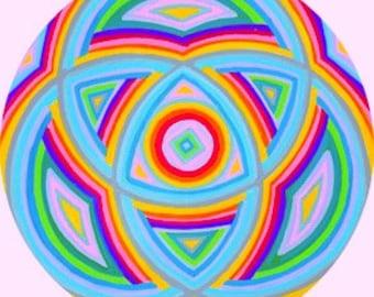 Cosmic Circle, Triple Rainbow, Mandala, Mystical, Glass art, Home and Car decor, Eco-friendly, Window Cling, Modern Hippie, Spiritual Gift