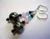 Black Earrings Painted Glass Pink Turquoise Black Dangle Swarovski Crystal Rose Opal Wire Wrapped Silver Leverback Earrings Gifts under 5
