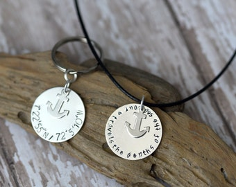 His and Hers Deployment Gift Set - Necklace / Keychain - Marines / Navy / Long Distance Relationship