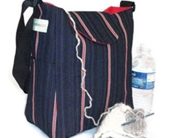 Blue denim, messenger, cross body bag, Knitting Bag, handbag, Lots of Pockets, purse, pinstripe,