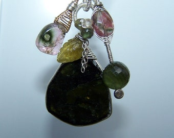 Green tourmaline, wire wrapped pendant, necklace