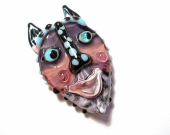 Pink & Purple Mask Necklace, Handmade Lampwork glass bead, 'animalia' face pendant, Mardi Gras amulet, focal bead, glassbead, SRAJD