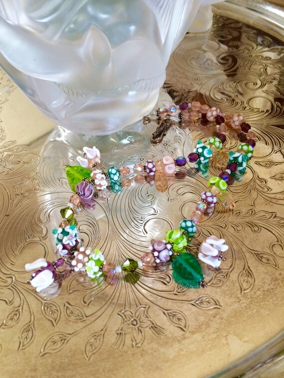Necklace Flowers and Crystals Sterling Silver artisan Lampwork OOAK