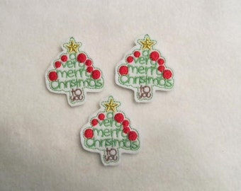 3 Felt A Very MERRY CHRISTMAS To You Tree Applique Embellishments Style SS