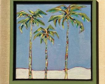 Original acrylic painting, fine art wall decor, palm tree painting,  framed art, home decor, desert home, decorative art