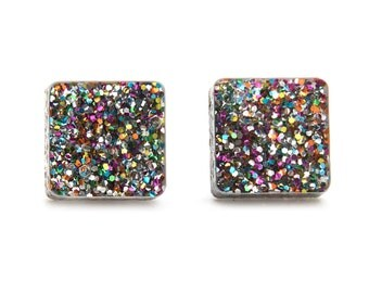 Square Studs Glitter Acrylic Holographic Glitter Acrylic Earrings Laser Cut Earrings Rainbow Glitter Square Post Earrings Multicolour