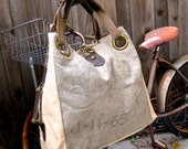 US Mail Bag - Open Tote - Americana OOAK Canvas & Leather Tote W- vtg fabric... Selina Vaughan Studios