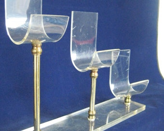 Versatile Vintage Clear Acrylic Display with 3 Individual Stands