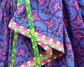 "Gypsy Skirt, Drawstring skirt, bustle back, super twirly, handmade, fits hips to 45"""