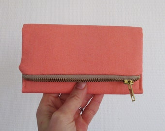 Coral iPhone wallet, large vegan pink canvas smartphone clutch, ready to ship