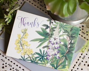 Texas Bluebonnet Thank You Notes set of five Wildflowers Watercolor Thanks