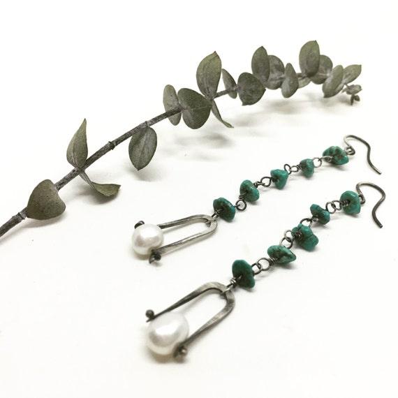 Turquoise and pearl earrings dangle earrings drop earrings turquoise earrings pearl earrings
