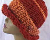 Soft Acrylic and Wool blend hand knitted hat in rich deep orange