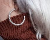 hollywood waltz pearl hoops / beaded hoops / oversized hoop earrings / 894a