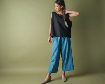 black cotton linen woven tank top / tank top / simple boxy top / s / m / 1742t