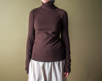 fitted brown turtleneck / petite turtleneck / 90s turtleneck sweater / s / 1467t