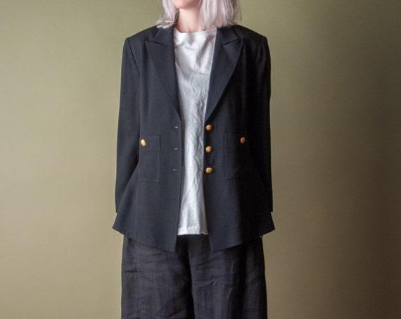 SONIA RYKIEL black crepe blazer jacket / s / m / 004o