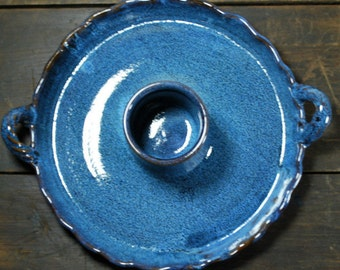 Colbalt Blue Chip & Dip or Chicken Roaster Stoneware Clay Pottery Ready To Ship