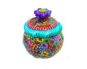 Sugar bowl - hand made - serving sugar bowl - turqouies  - polymer clay