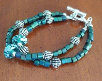 Teal Green Lampwork Beaded Bracelet