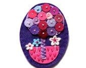 HALF PRICE SALE Tree felt brooch pin with freeform embroidery - scandinavian style