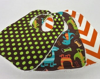 Set of 3 Baby Bibs  |  Gender Neutral  | Dino Dudes Dinosaur  | Lime Dots on Brown  | Orange/ White Chevron ZigZag