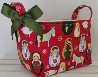 READY TO SHIP - Christmas - Storage Organization Container Bin Organizer Basket Fabric - Matryoshka Russian dolls - Nativity Scene